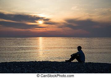 silhouette, sonne, traurige , sonnenuntergang, hintergrund, besorgt, sandstrand, mann
