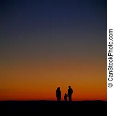 silhouette, sonnenaufgang, familie, aufpassen