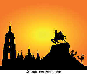 Sophia Square in Kyiv - Silhouette Sophia Square in Kyiv on...