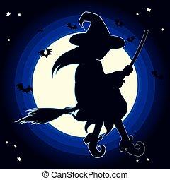 silhouette, sorcière, lune