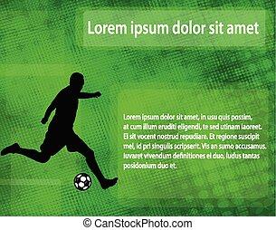 silhouette, spazio, testo, astratto, giocatore, fondo, calcio