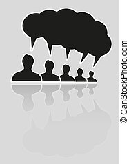 silhouette speak bubble - silhouettes of five people and one...