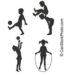 silhouette, spelende kinderen
