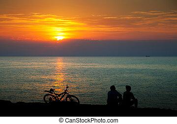 silhouette, spiaggia, persone