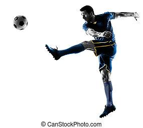 silhouette, spieler, freigestellt, treten, fußball, mann