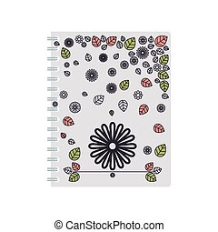 silhouette spiral notepad with background flowers