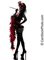 silhouette, spogliarellista, showgirl, sexy, donna