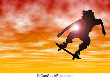 Silhouette Sport Sky - Teen boy Silhouette with skateboard...