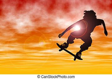 Silhouette Sport Sky - Teen boy Silhouette with skateboard...