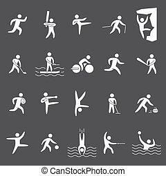 silhouette, sporten, figuren, populair, witte , atleten