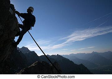 silhouette, -, sportende, klimmer, extreem