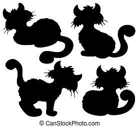 silhouette, spotprent, verzameling, kat
