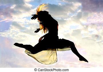 silhouette, Sprünge, frau, durch, Luft