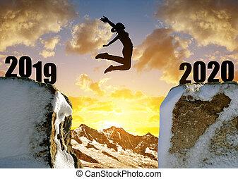 silhouette, sprong, jaar, nieuw, meisje, 2020.