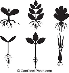 Silhouette sprout set - Silhouette black and white image...
