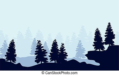 Silhouette spruce forest scenery collection