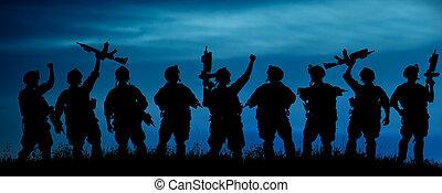 silhouette, squadra, ufficiali, armi, militare, soldati, o, night.
