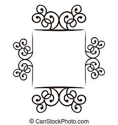 silhouette square frame decorative ornament swirl design