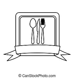 silhouette square frame with ribbon and kitchen cutlery icon