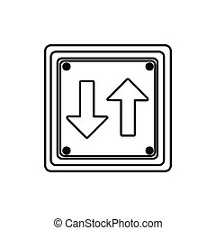 silhouette square shape frame two way traffic sign