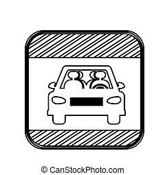 silhouette square shape traffic sign of car crossing