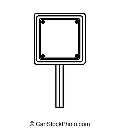 silhouette square shape traffic sign with base pole