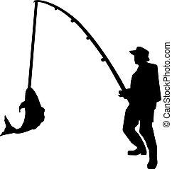 silhouette, staaf, visserij, man