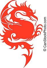 silhouette, staart, vecht, draak, achtergrond, scherp, wit rood