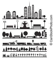 silhouette, stad, communie, bos, straat, park