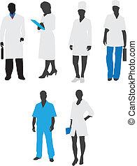 silhouette, staff., vettore, medico