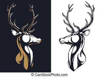 Silhouette stag buck elk deer head antlers majestic portrait isolated vector logo emblem mascot insignia