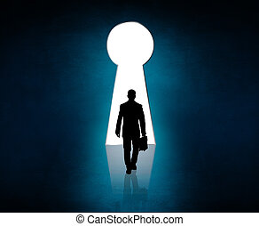Silhouette stands near big keyhole exit. Out concept. Blue...