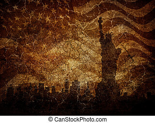 Silhouette statue of liberty on worn background.