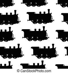 Silhouette steam locomotive seamless background