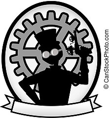 Silhouette Steampunk Man Gray Oval Badge Banner - Outline of...