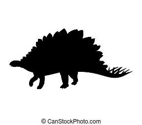 Silhouette Stegosaurus dinosaur jurassic prehistoric animal....