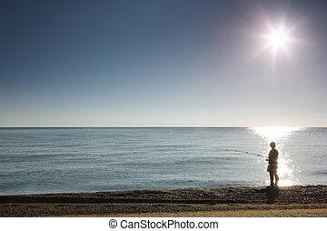 silhouette, steht, fischer, land, fische, mann