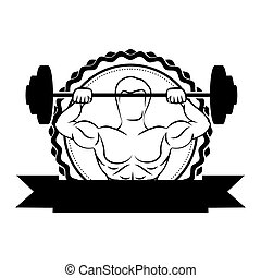 silhouette sticker border with muscle man lifting a disc weights and label