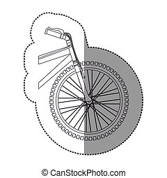 silhouette sticker front part bicycle in closeup
