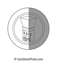 silhouette sticker lego with portrait female chef shading