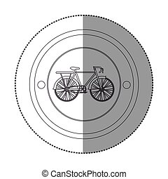 silhouette sticker with circular shape with bicycle