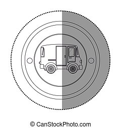 silhouette sticker with circular shape with mini van