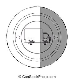 silhouette sticker with circular shape with truck and wagon...