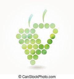 silhouette, stilizzato, uva, verde