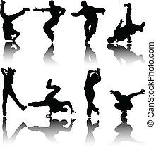 silhouette, strada, ballerini, vettore