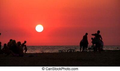 silhouette, strand, mensen