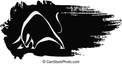 Silhouette strong charging bull on black grungy background
