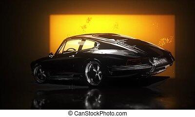 silhouette, stylisé, coupé, vidéo, voiture sport
