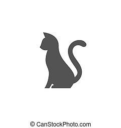 silhouette, stylization, business, chouchou, résumé, haut, chat, queue, animal, logo, ton