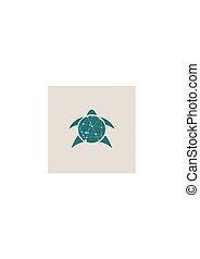 Silhouette stylized turtle on white background.